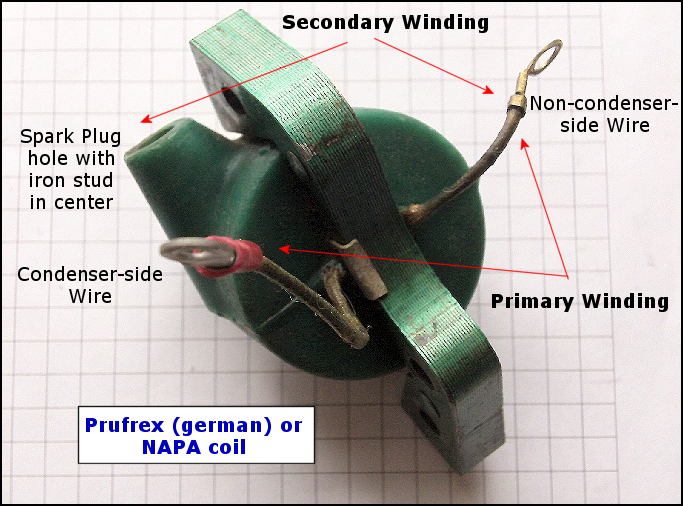 testing an outboard coil a multimeter using an ignition coil the prufrex outboard coil showing the contact points for resistance readings of the primary and secondary coil windings when testing the secondary winding